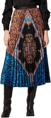 Sandro Ivona Mix Scarf Print Pleated Skirt