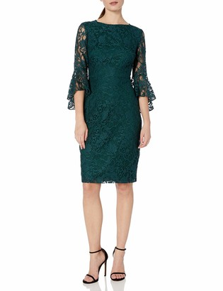 Gabby Skye Women's Bell Sleeve Midi Lace Sheath Dress