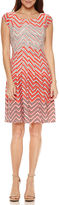 Robbie Bee Short Sleeve Chevron Fit & Flare Dress-Petites