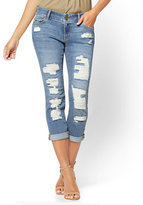 New York & Co. Soho Jeans - Curvy Cropped Boyfriend - Dusty Blue Wash