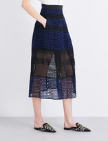 Self-Portrait Crosshatch Panelled midi skirt
