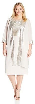 Le Bos Women's Plus Size Tiered Pucker Knit Trim Duster Dress Set