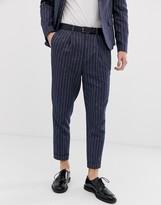 Asos Design DESIGN tapered crop suit pants in linen stripe