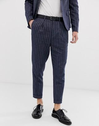 Asos DESIGN tapered crop suit pants in linen stripe