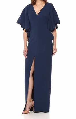 Halston Women's V Neck Gown with Flounce Sleeve