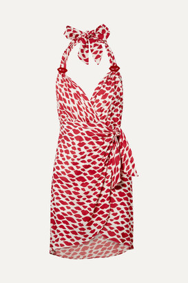 Adriana Degreas Bacio Printed Voile Halterneck Mini Wrap Dress - Red