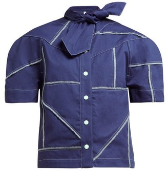 Symonds Pearmain - Tie-neck Denim Shirt - Navy