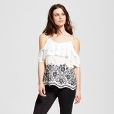 Mossimo Women's Embroidered Ruffle Cold Shoulder Top