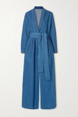 KING & TUCKFIELD Belted Wrap-effect Denim Jumpsuit - Blue