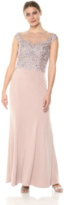 Cachet Women's Beaded Floral Embroidered Bodice Sleevless Gown