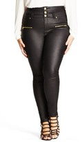 City Chic Plus Size Women's 'Skylark' Zip Detail Corset Waist Coated Jeans