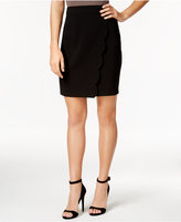 BCX Juniors' Scalloped Faux-Wrap Pencil Skirt