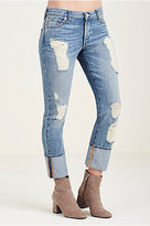 True Religion Liv Exaggerated Cuff Relaxed Skinny Womens Jean