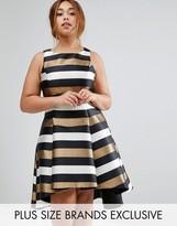 Coast Plus Metallic Stripe Fit And Flare Dress