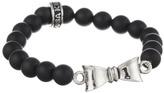 King Baby Studio 8mm Onyx Bead Bracelet w/ Silver Bow Bracelet