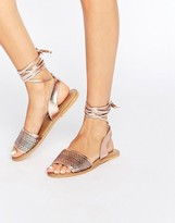 Asos Flaiz Leather Tie Leg Sandals