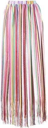 Missoni Mare Stripe Print Fringe Long Skirt