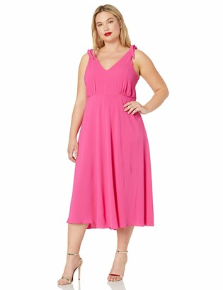Betsey Johnson Women's Plus-Size Pebble Crepe Dress with Shoulder Ties