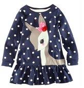 Toraway Toddler Baby Girls Kids Autumn Clothes Long Sleeve Deer Tops T-Shirt Dress
