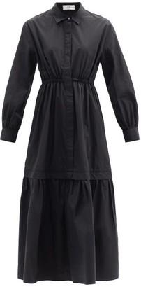 Co Dropped-hem Cotton-blend Poplin Maxi Shirt Dress - Black