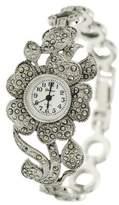 Silver Bin SilverBin Genva Women's Platinum Marcasite Flower Watch