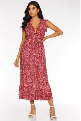 Quiz Red Ditsy Print Frill V Neck Maxi Dress