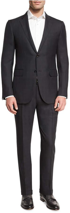 Ermenegildo Zegna Check Two-Piece Suit, Dark Gray