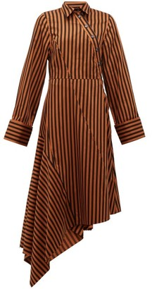 Marques Almeida Marques'almeida - Asymmetric Striped Cotton Shirtdress - Womens - Brown Multi
