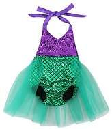Wennikids Baby Girls Sequins Mermaid Bodysuit Romper Jumpsuit Summer Sunsuit Outfits Large