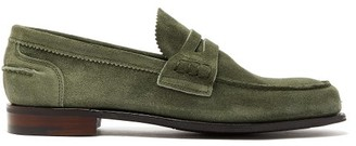 Cheaney Dover Suede Penny Loafers - Mens - Khaki