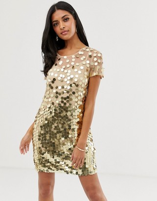 French Connection Basu sequined shift dress-Gold