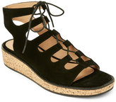 Bettye Muller Black Midas Cork Wedge Lace-Up Sandals