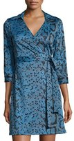 Julie Brown Milo Printed 3/4-Sleeve Wrap Dress, Blue Dakota