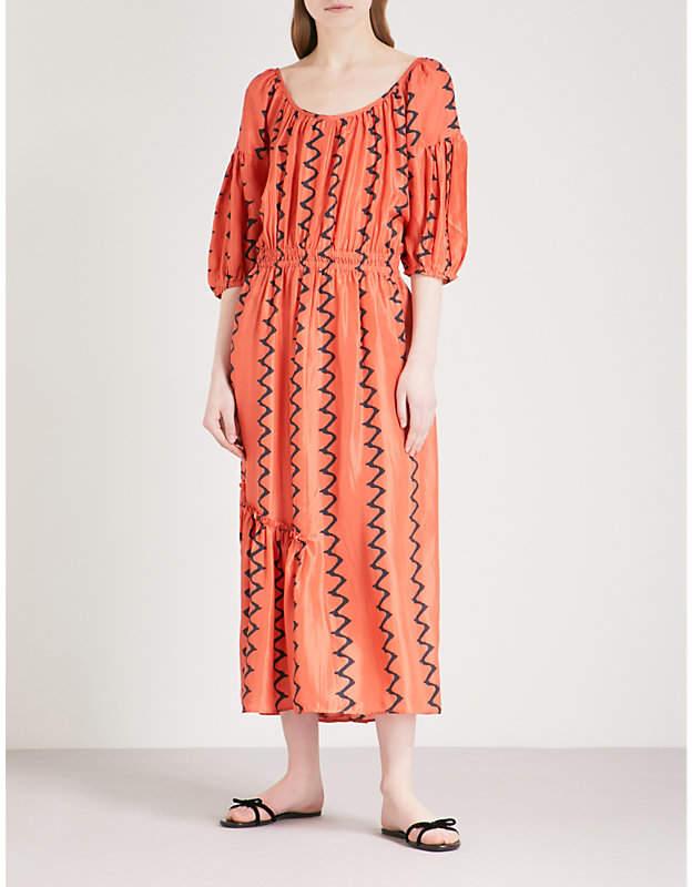 Apiece Apart Camellia zigzag silk midi dress