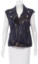 Pierre Balmain Leather Moto Vest