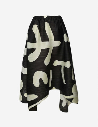 Pleats Please Issey Miyake Loose graphic-print pleated high-waisted woven midi skirt