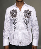 Rebel Spirit White & Gold 'Rebel Spirit' Skulls Button-Up - Men's Regular