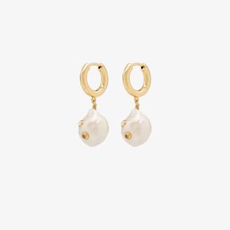 Anni Lu 18K gold-plated Gertrude pearl hoop earrings