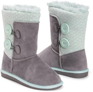 Muk Luks Girls' Casual boots Grey - Gray Matilda Button Boot - Girls