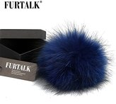 FURTALK Real Raccoon Fur Pom Pom for Mobile Strap Coppia Keychain Fluffy Fox Fur Ball