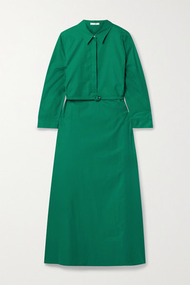 The Row Tanita Belted Cotton-poplin Midi Shirt Dress - Green