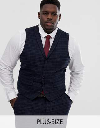 Harry Brown Plus navy and gold slim fit check suit waistcoat