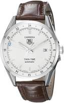 Tag Heuer Men's WV2116.FC6181 Carerra Calibre 7 Twin Time Automatic Dial Brown Crocodile Watch