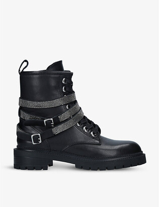 Carvela Tuxedo strap-embellished leather biker boots