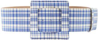 Carolina Herrera Plaid Wool Large Square Buckle Belt