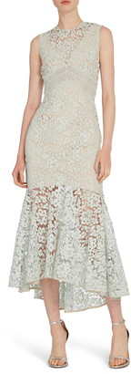 ML Monique Lhuillier Lace High/Low Midi Dress