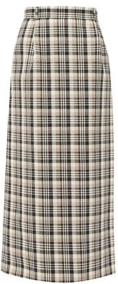 Edward Crutchley Checked A-line Wool Maxi Skirt - Brown Multi