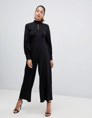 ASOS Design Jumpsuit with high neck and blouson sleeve with keyhole