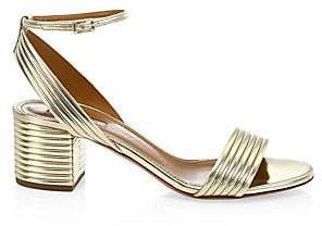 Aquazzura Women's Sundance Metallic Ankle-Strap Sandals