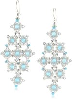 Miguel Ases Cat's Eye and Turquoise Diamond Shape Drop Earrings